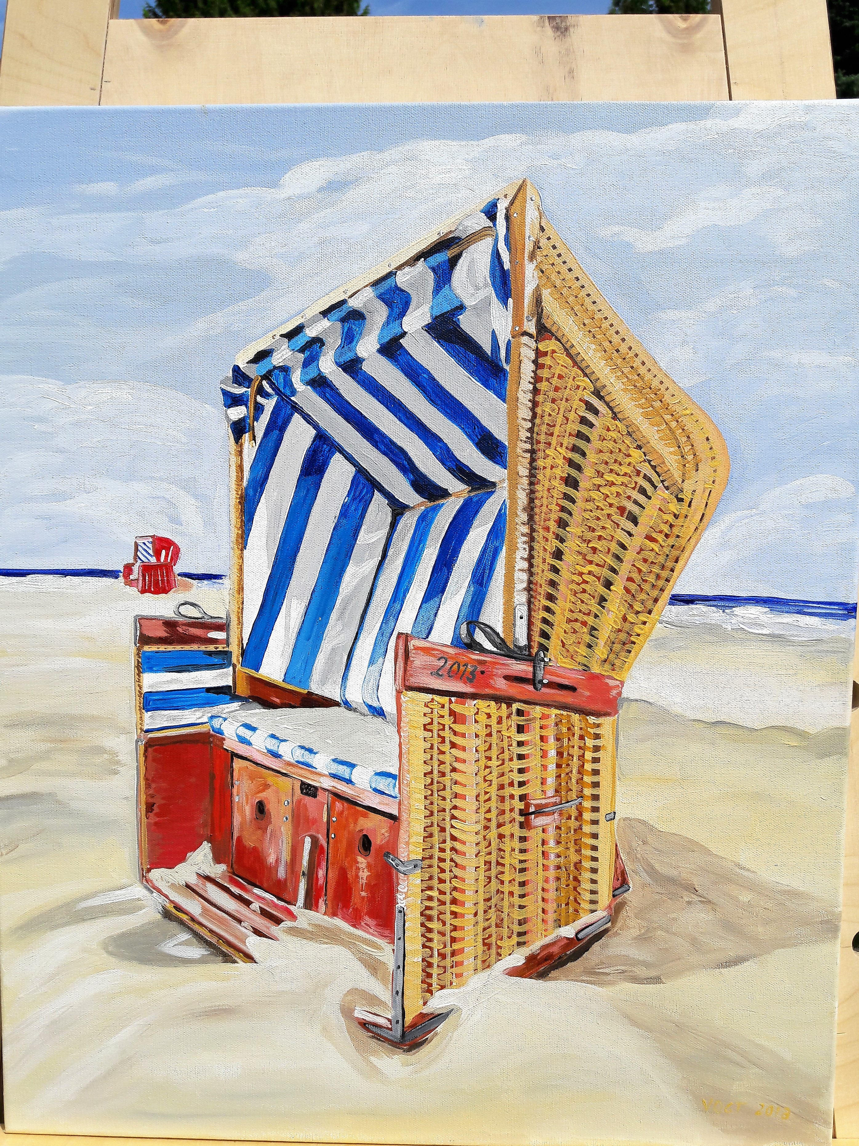 Strandkorb Acryl auf Leinwand