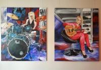 E-Bass und Schlagzeug Acryl auf Leinwand